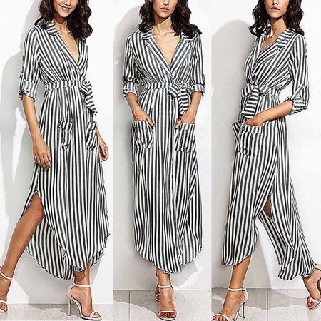 Striped Belted Shirt Dress - Womens Stripe Belted Deep V Neck Long Sleeve Top Blouse Long Maxi Dress BK/XL