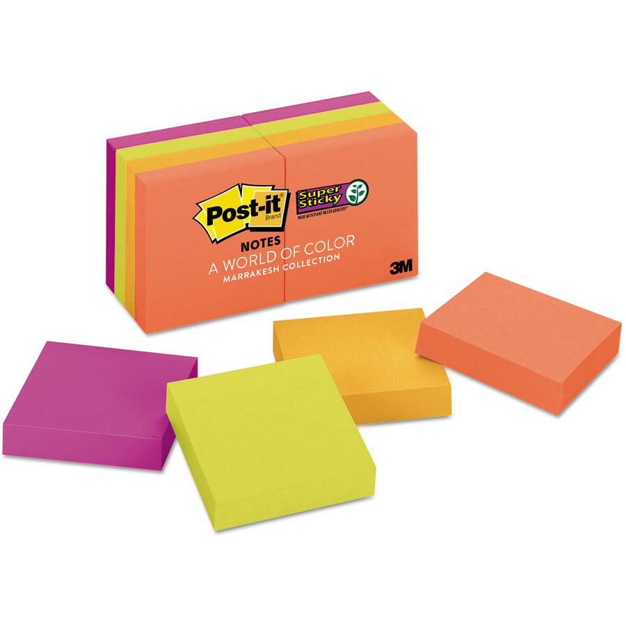 Post-it Pads in Marrakesh Colors, 2 x 2, 90/Pad, 8 Pads/Pack