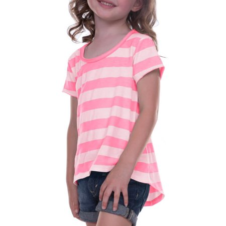 Kavio! Little Girls 3-6X Striped Jersey Scoop Neck High-Low Short Sleeve Striped White/PinkFlash 5/6](Kids Back To School Clothes)