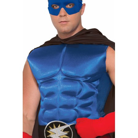 Adult's Blue Superhero Or Villain Muscle Chest Padded Shirt Costume Accessory