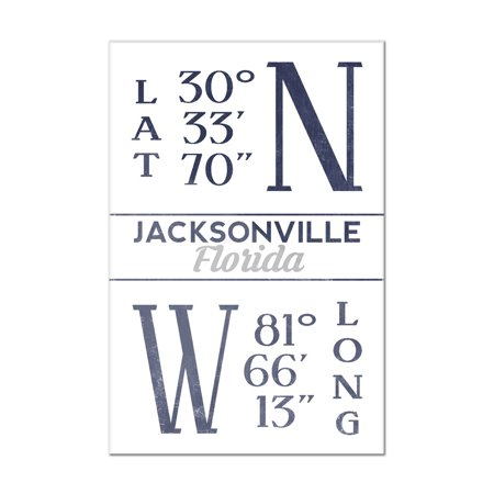 Jacksonville  Florida   Latitude   Longitude  Blue    Lantern Press Artwork  8X12 Acrylic Wall Art Gallery Quality