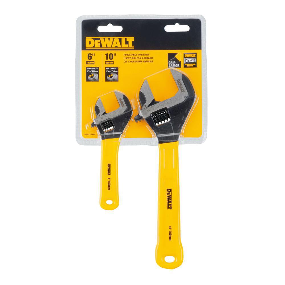 Dewalt DWHT75497 Yellow 2 Pc Dip Grip Adjustable Wrench