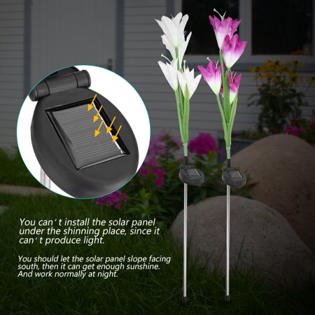 WALFRONT 2Pcs Solar Power LED 4 Heads Calla Flower Night Lamp Light for Home Garden Lawn Decoration,Solar Flower Light, Solar Calla Flower Light - image 6 of 8