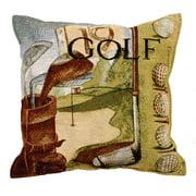 Vintage Golf Golfing Tapestry Toss Pillow USA Made