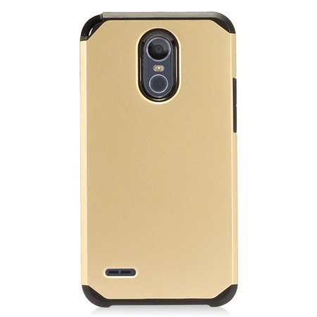 EagleCell Hard Plastic/Soft TPU Rubber Dual Layer [Shock Absorbing] Hybrid Phone Case Cover For LG Stylo 3 Plus - Gold/Black