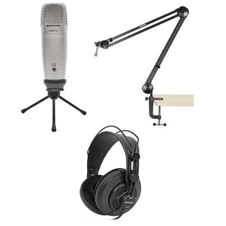 samson podcast usb recording microphone mic podcasting stand boom arm headphones. Black Bedroom Furniture Sets. Home Design Ideas