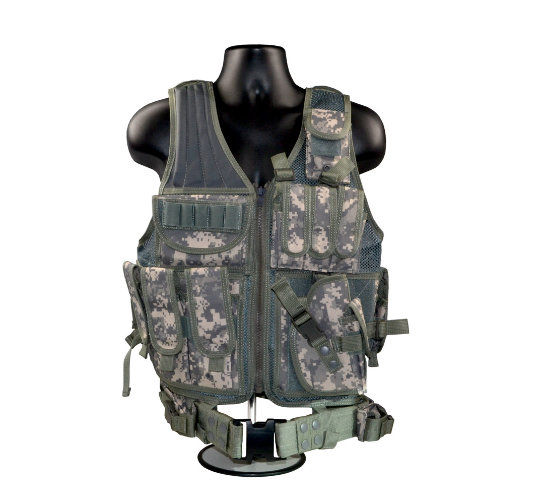 Sniper 600x600 Cross Draw Tactical Molle Vest; Multi-purpose - Hunting; Fishing; Target Shooting-(Camo - Green)