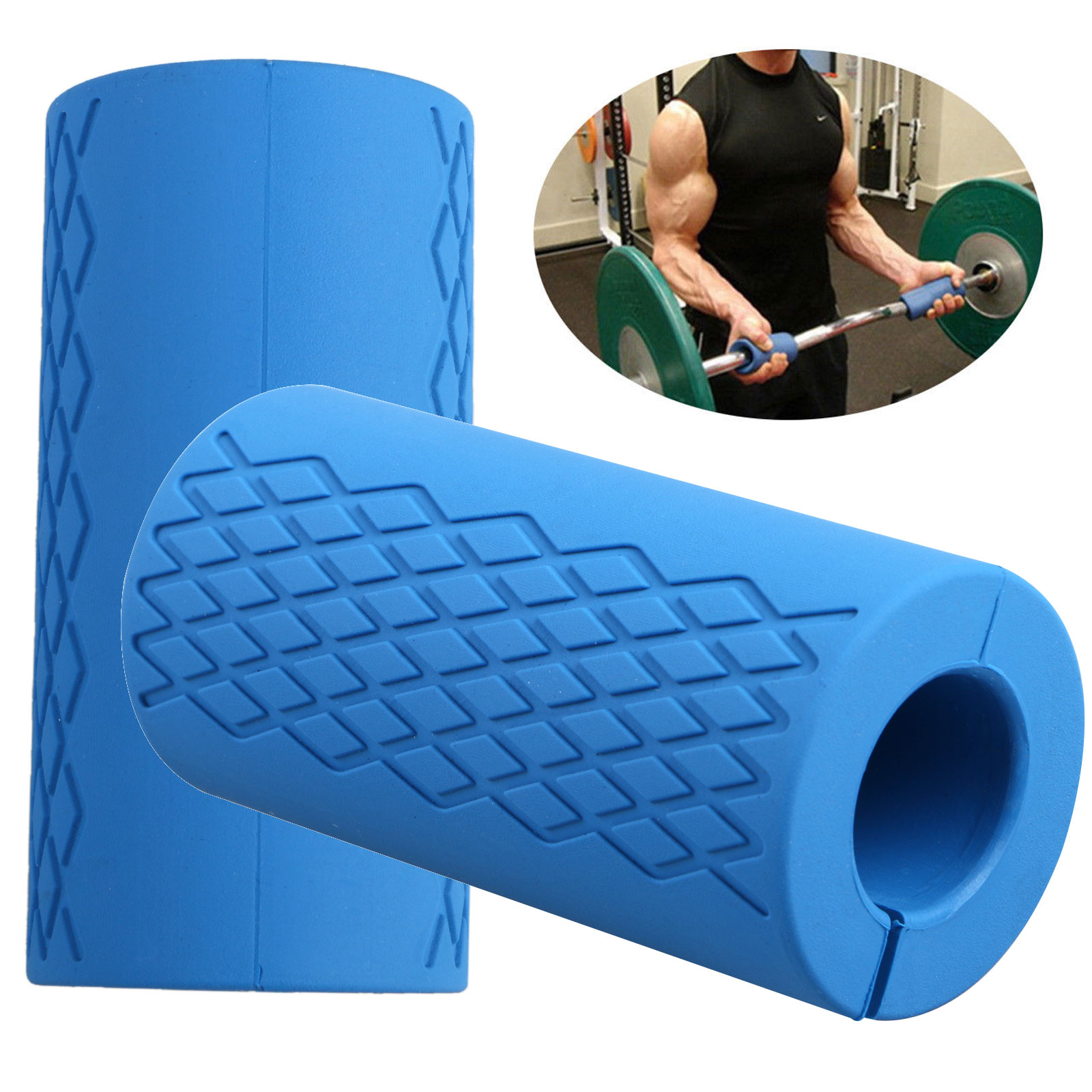 (2 Pack) EEEKit Thick Barbell Silicone Grips, Non-slip Silicone Rubber Dumbbell Grip, Power Weightlifting Fat Arm Wrap Bar Grip Training Home Gym