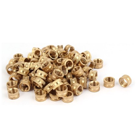 M8 x 6mm Female Thread Brass Knurled Threaded Round Insert Embedded Nuts 100PCS - image 3 of 3