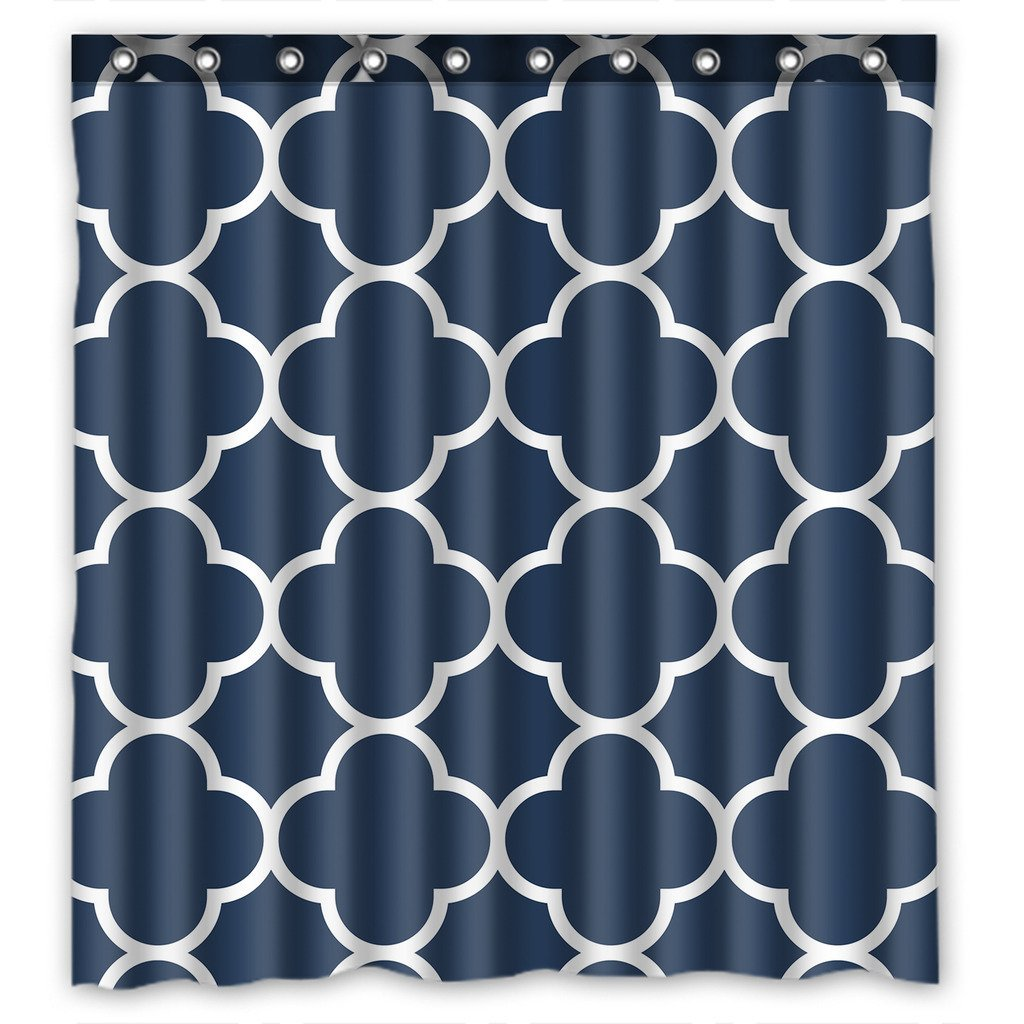 GCKG Classic Navy Blue Quatrefoil Waterproof Polyester Shower Curtain and Hooks Size 66x72 inches