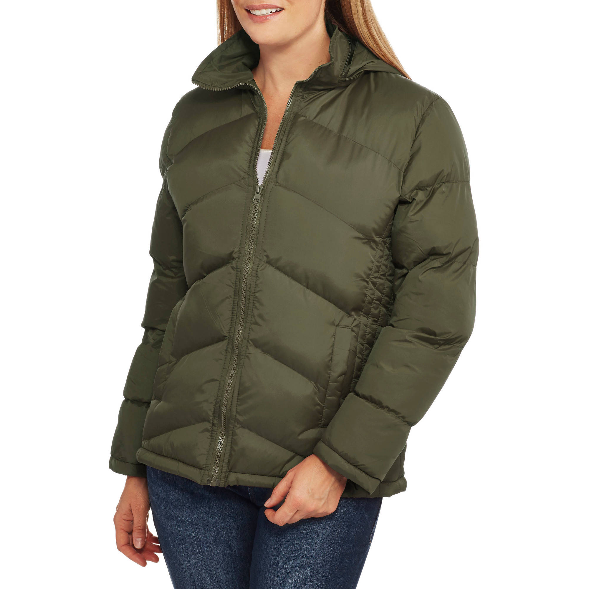 Climate Concepts Women's Chevron Quilted Jacket with Packable Hood