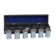 Handcrafted Decor MC-2110-BN Brushed Nickel Anchor Shot Glasses with Rosewood Box, 2 in. Set of 6 by Shot Glasses