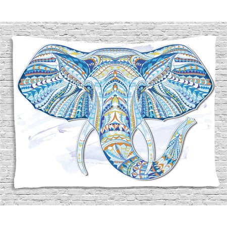 Tribal Totem (Ethnic Decor Tapestry, Indian Totem Elephant Head Pattern with Embellished Folk Effects Tribal Artwork, Wall Hanging for Bedroom Living Room Dorm Decor, 60W X 40L Inches, Blue, by)
