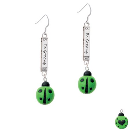 Resin Lime Green Ladybug Love Bug - Joshua 1:9 Bar French (Ladybug Resin Earrings)