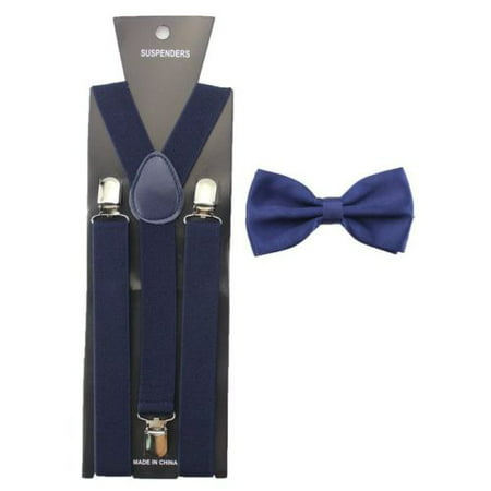 Ties And Suspenders (New NAVY BLUE SUSPENDERS And BOW TIE Matching Set Tuxedo Wedding)