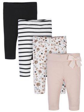 Gerber Baby Girl Organic Pants, 4-Pack