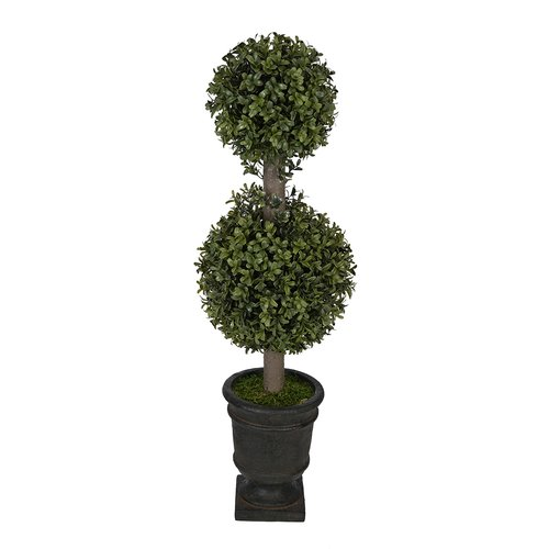 House of Silk Flowers Inc. Artificial Boxwood Double Ball Topiary in Urn