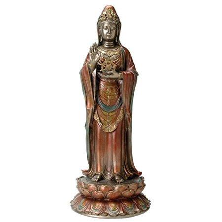 Bronze Gold and Silver Colored Nanhai Kuan Yin Statue (Silver Bronze Statue)