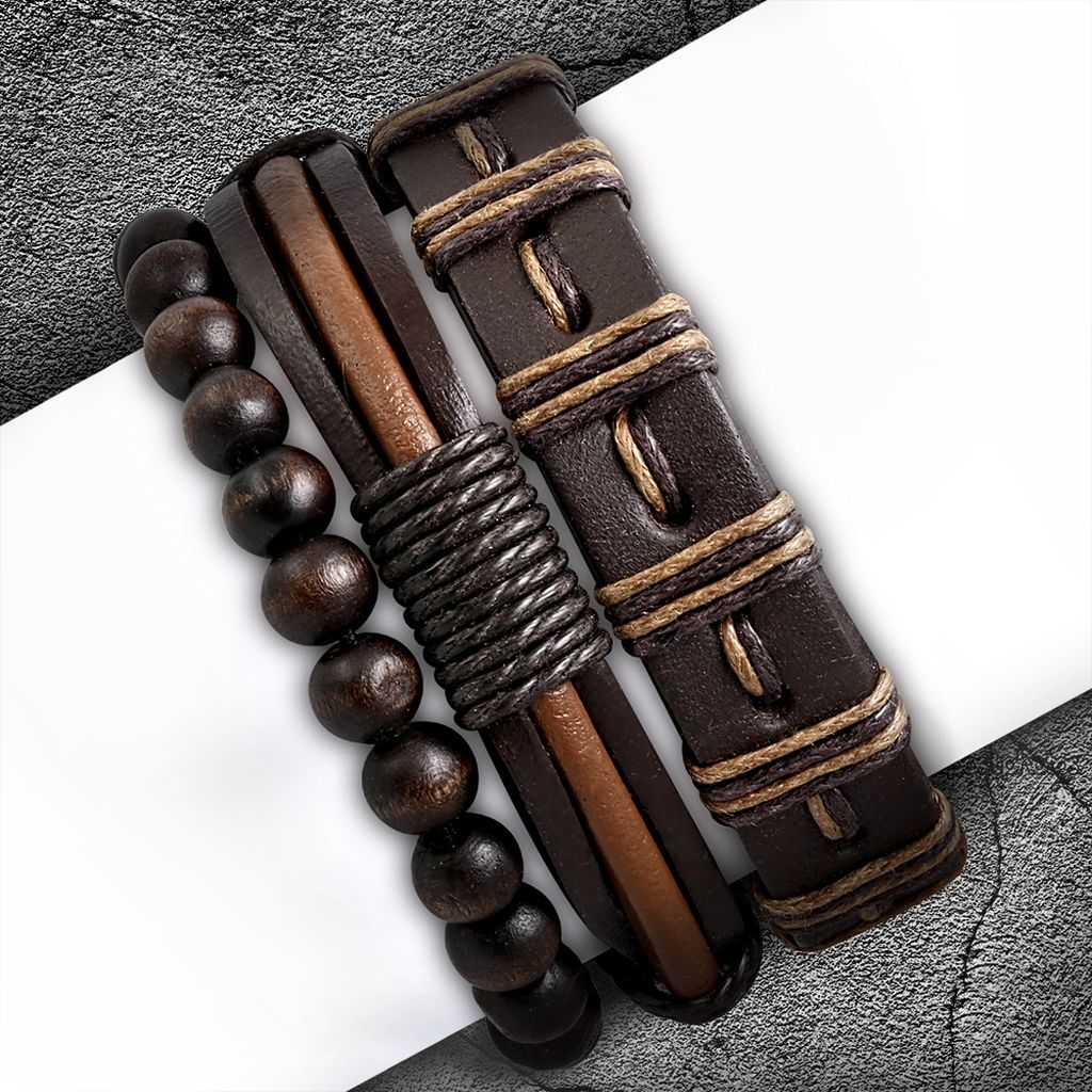 Fashion Wood Stretch Beads Wrap Rope Adjustable Boho Bohemian Leather Bracelets Set