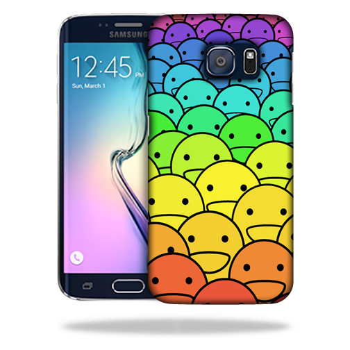 MightySkins Snap-On Protective Hard Case Cover for Samsung Galaxy S6 Edge Happy Faces