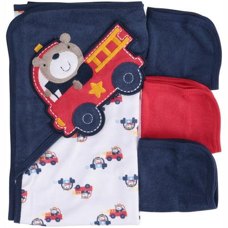 Gerber Newborn Baby Boy Towel and Washcloths Bath Gift Set, Fire Truck, 4 Piece