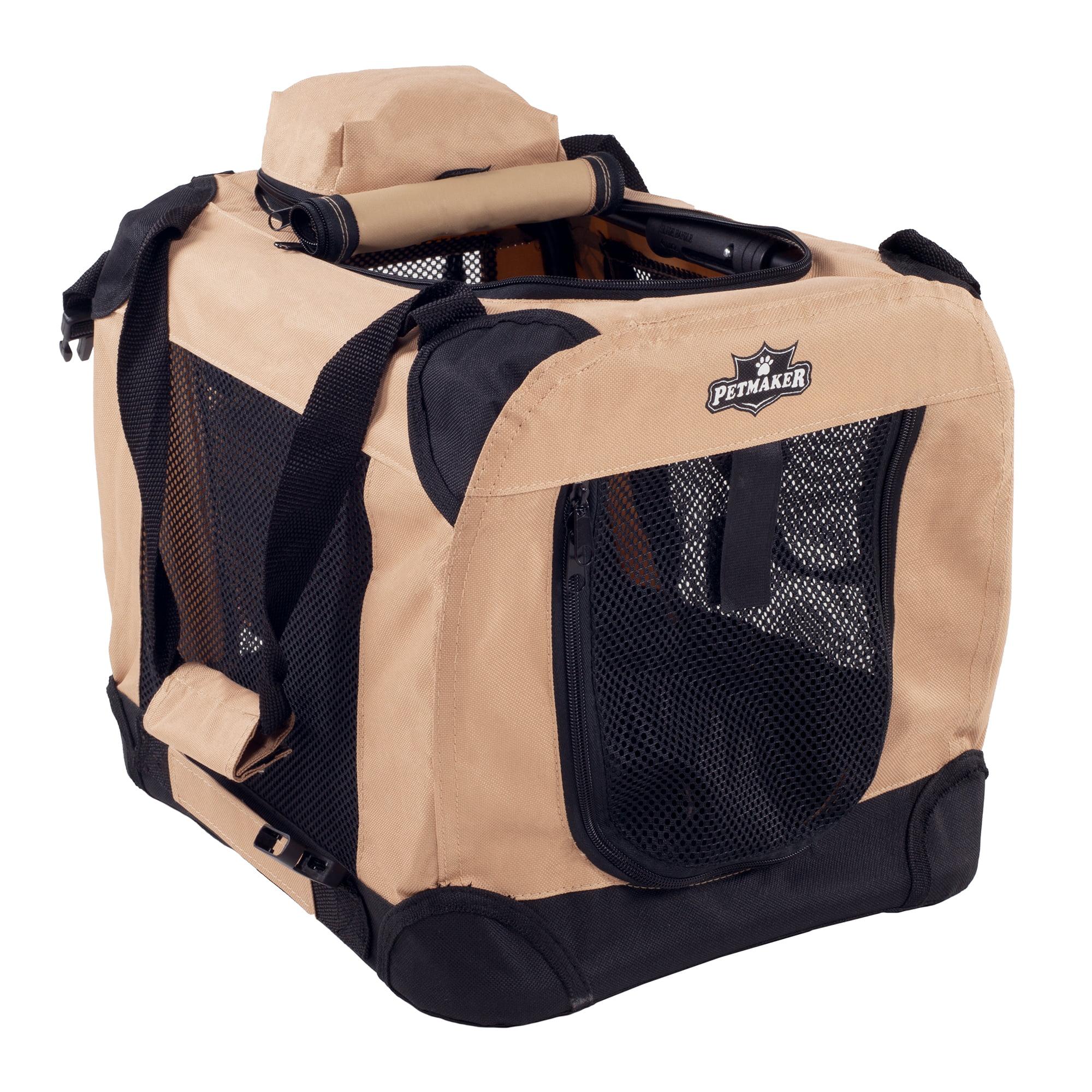 "Portable Soft Sided Pet Dog Crate-16"" x 12"" -Khaki"