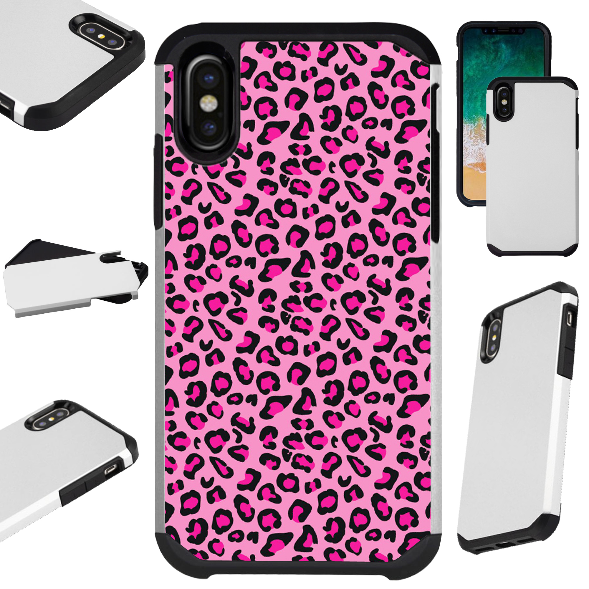 """Compatible With Apple iPhone XS Max 6.5"""" Case Hybrid TPU Fusion Phone Cover (Pink Leopard Skin)"""