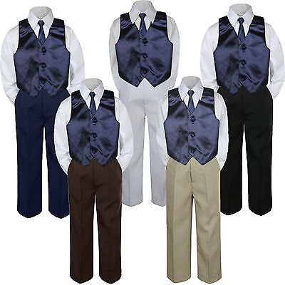 4pc Boy Suit Set Navy Blue Necktie Vest Baby Toddler Kid Formal Pants - Blue Suit Next