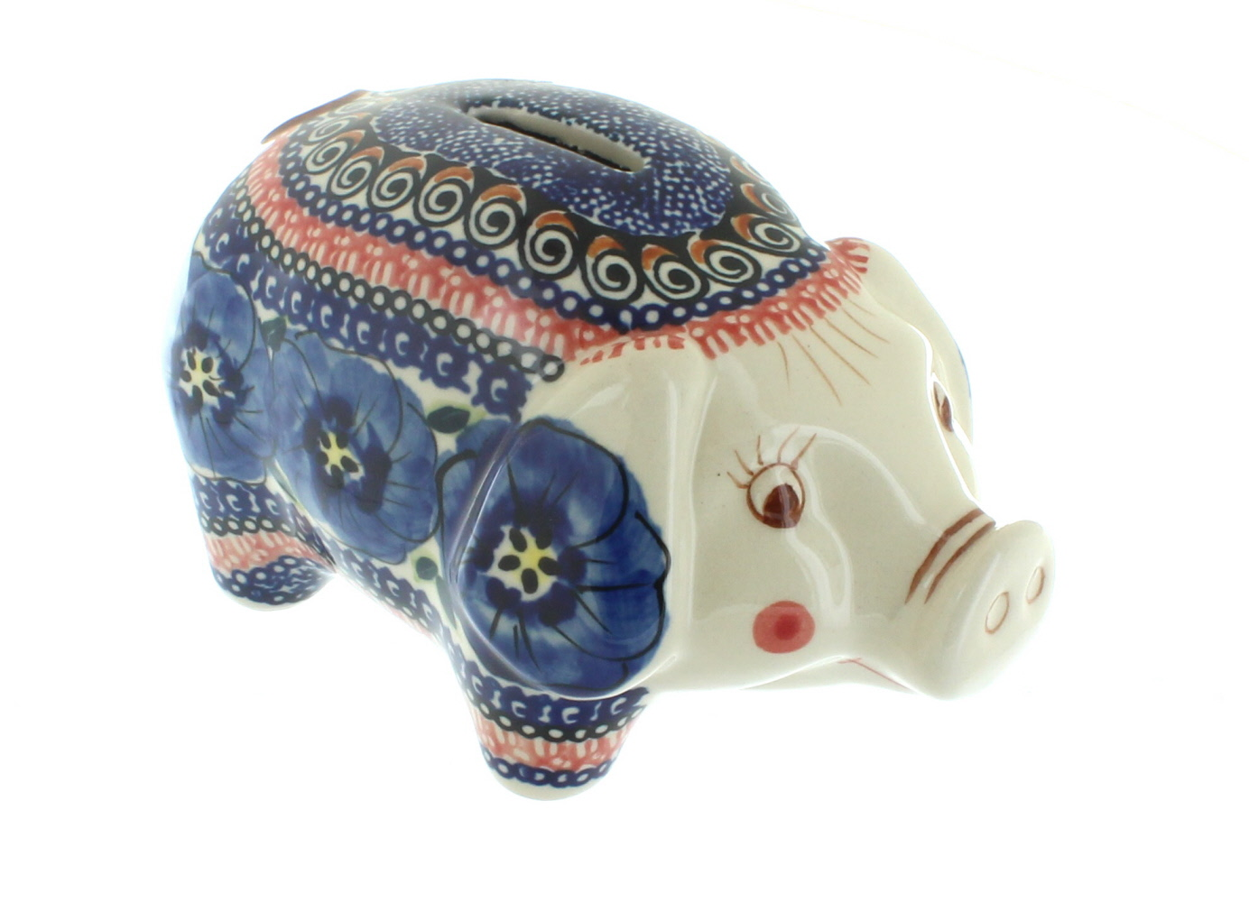Polish Pottery Blue Art Piggy Bank by Zaklady