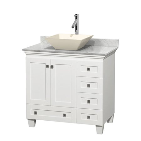 Wyndham Collection Acclaim 36 inch Single Bathroom Vanity in White, Ivory Marble Countertop, Pyra Bone Porcelain Sink, and 24 inch