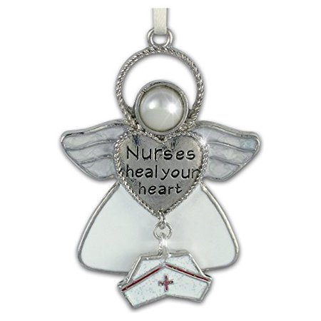 Nurses Heal Your Heart Hanging Ornament Angel with Hat Charm](Nurse Ornaments)