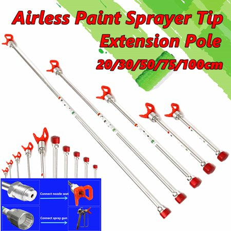 Aluminium Airless Paint Spray Gun Sprayer Extension Pole with Tip Copper & plastic Guard Nozzle Seat, 20/30/50/75/100CM
