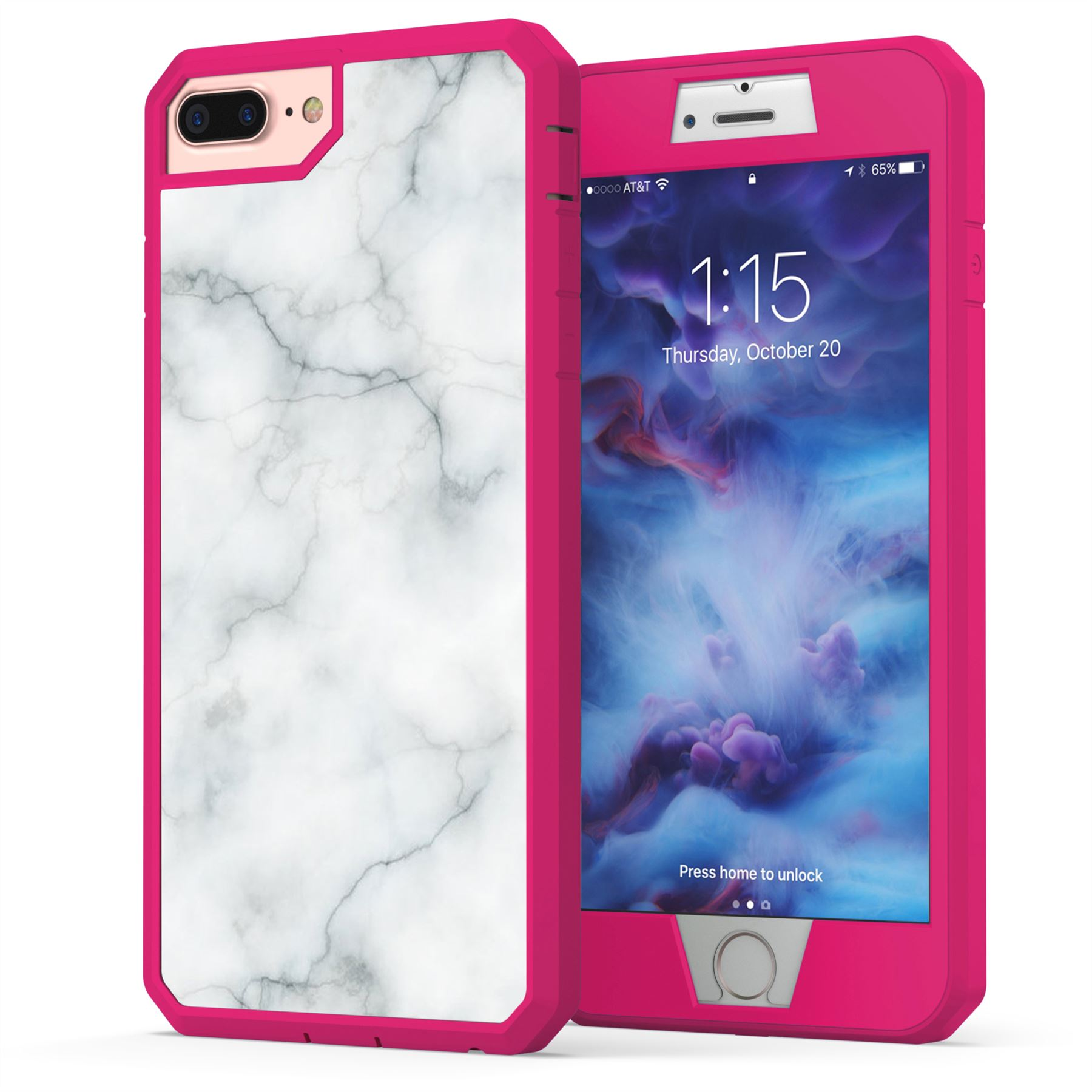 buy popular 42fe6 09f6f iPhone 7 Plus Marble Case, True Color Pink Marble [Stone Texture  Collection] Heavy Duty Hybrid + 9H Tempered Glass 360° Protection [True  Armor ...