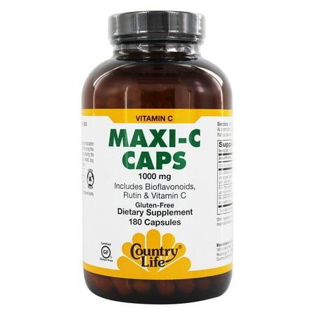 Country Life - Maxi C Caps with Bioflavonoids, Rutin & Vitamin C 1000 mg. - 180 Vegetarian Capsules