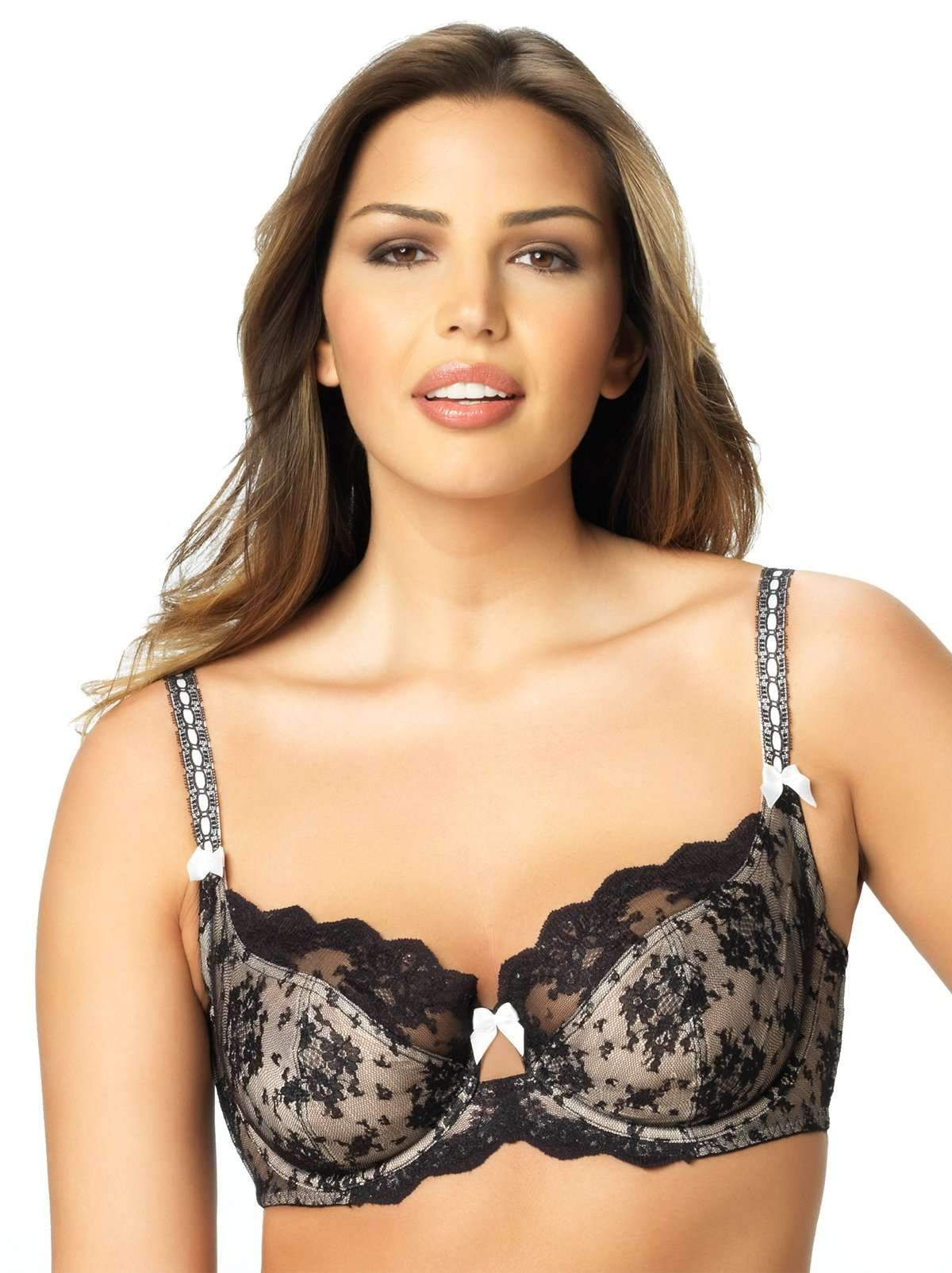 Paramour by Felina | Captivate Unlined Bra | Floral Lace Detail | 3 Section Cup (Black, 36G)