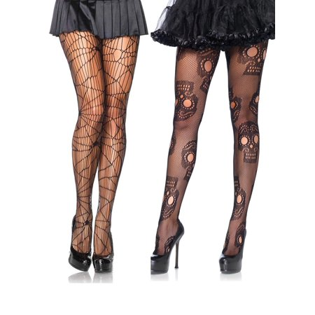 Net Halloween Distressed Fishnet Sugar Skull Day of The Dead Costume Hosiery - Sugar Suite Halloween