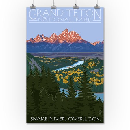 Grand Teton National Park, Wyoming - Snake River Overlook - Lantern Press Artwork (36x54 Giclee Gallery Print, Wall Decor Travel - Grand Gallery Presents