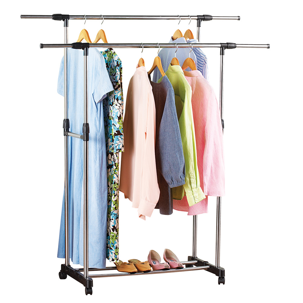 Adjustable Height Rolling Double Garment Clothing Rack with Wheels & Shelf