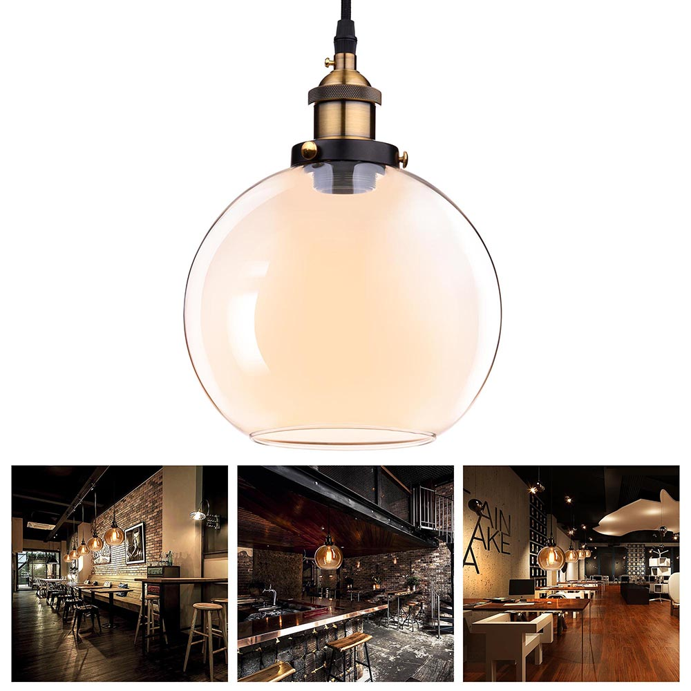 "Yescom Vintage Industrial 7.9"" Glass Ball Ceiling Light Pendant Chandelier Light Edison Lamp Cafe Kitchen Amber"