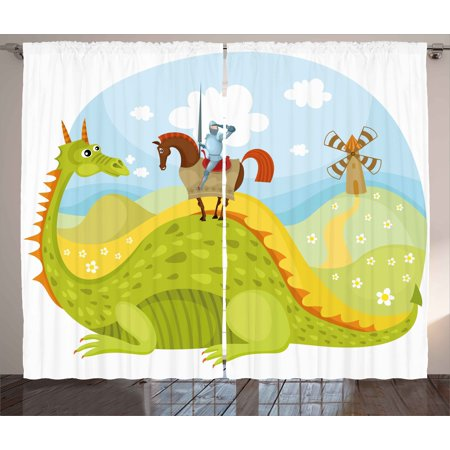 Fantasy Curtains 2 Panels Set  Knight Don Quixote With Horse On Dragon Valley Medieval Fairytale Image  Window Drapes For Living Room Bedroom  108W X 108L Inches  Apple Green Sky Blue  By Ambesonne