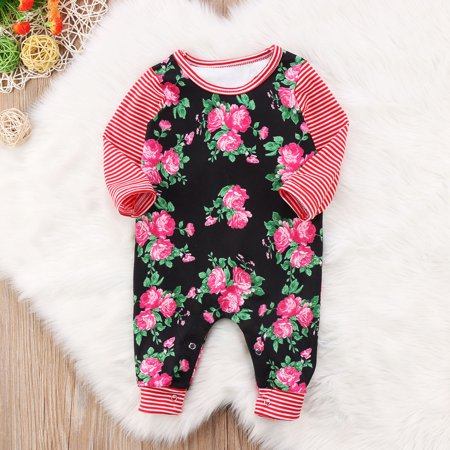 44885a7051 Baby Girls Pink Floral Print Long Sleeve Bodysuit Romper Jumpsuit Playsuit  Outfit Clothes Set