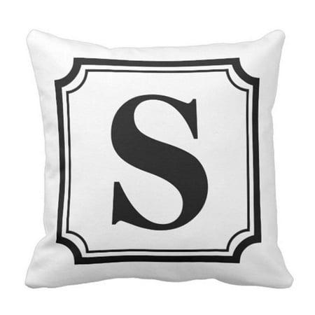 BPBOP Customizable Black White Vintage Monogram Personalized Pillowcase Cover 18x18 -