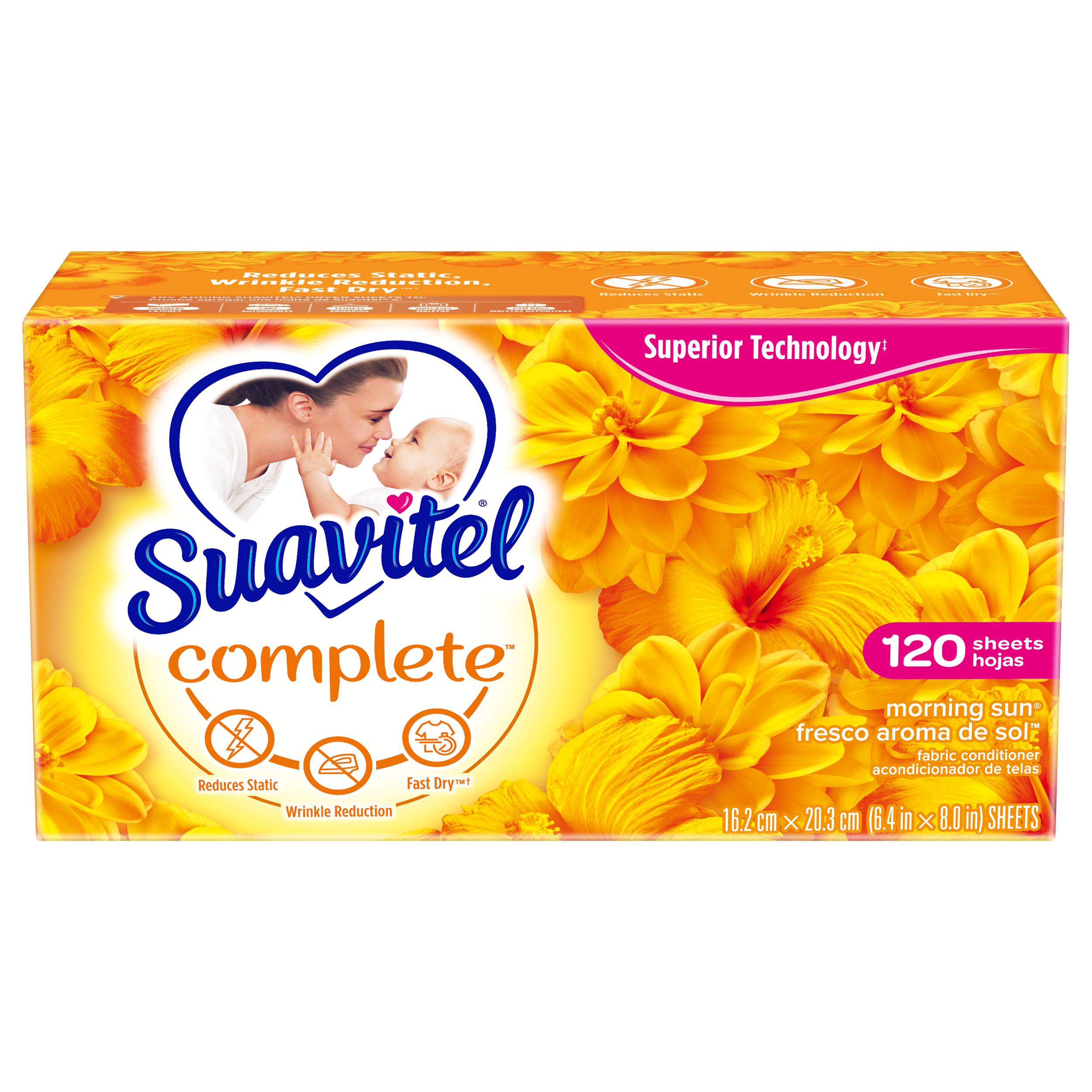 Suavitel Complete Dryer Sheets, Morning Sun, 120 Count