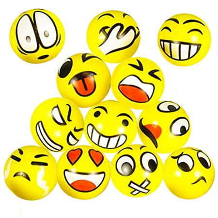 Emoji Stress Squeeze Balls (15 Pack) Fun Novelty Party Favor Holiday Class and Therapy Gift (Other Packs Available)