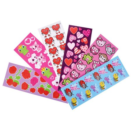 Valentine Sticker Assortment (100 Sheets Per Order), This assortment of stickers features a variety of Valentine