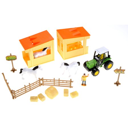 Horse Barn Farm Playset With Tractor 3 Horses and 2