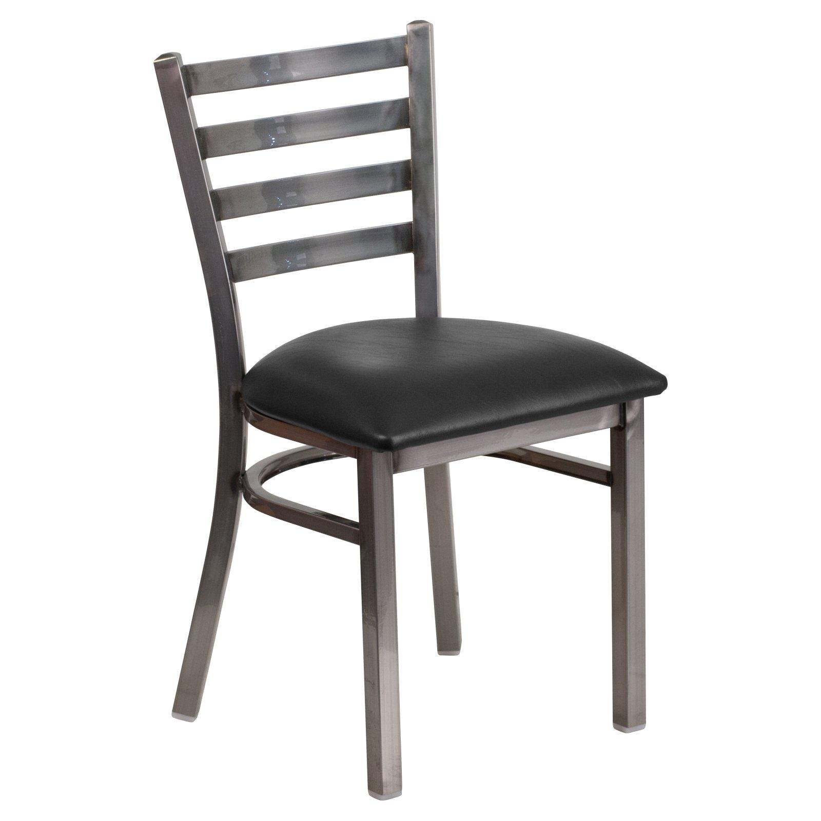 Flash Furniture HERCULES Series Clear Coated Ladder Back Metal Restaurant Chair - Vinyl Seat Multiple Colors
