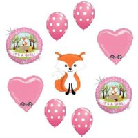LoonBalloon Fox Woodland Animals It's a GIRL Welcome Baby Shower 9 Party Mylar Balloons Set