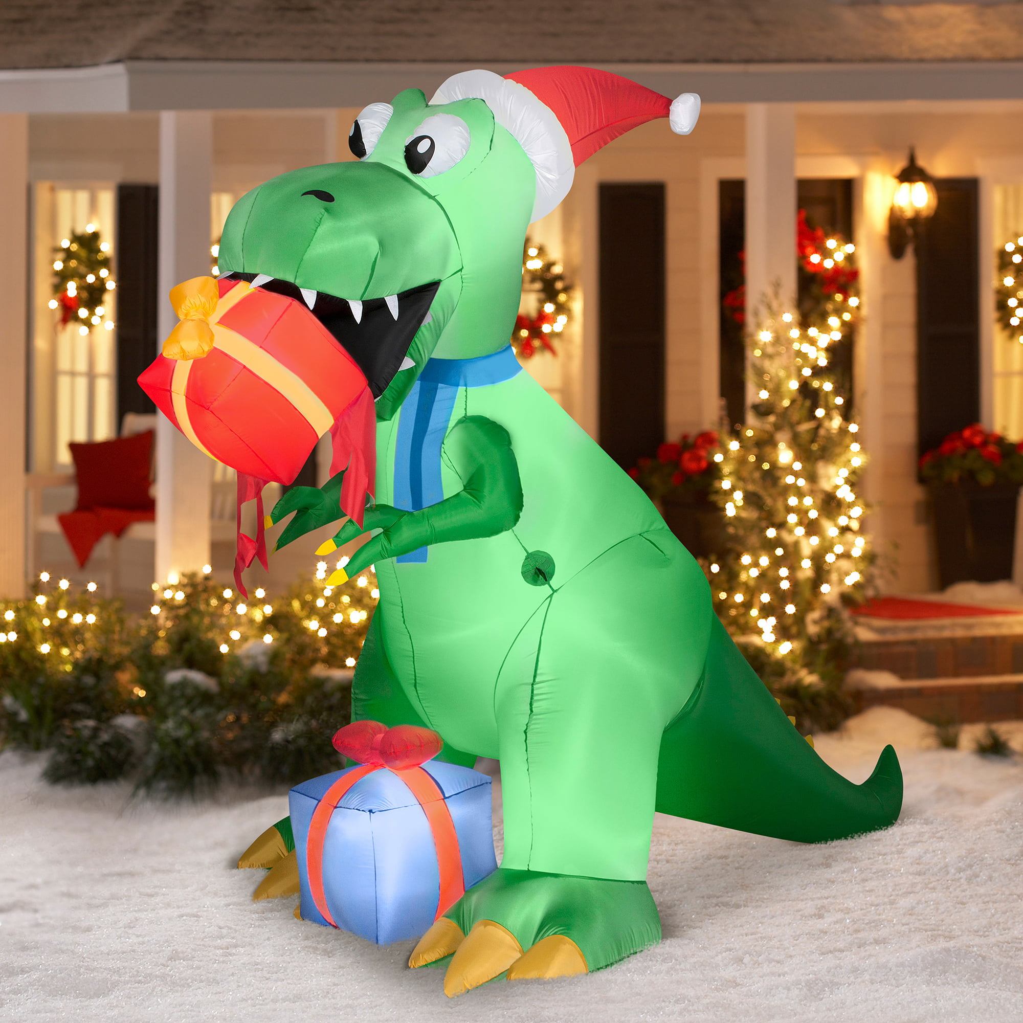 7 5 T Rex With Present Airblown Inflatable Christmas Prop Walmart Com