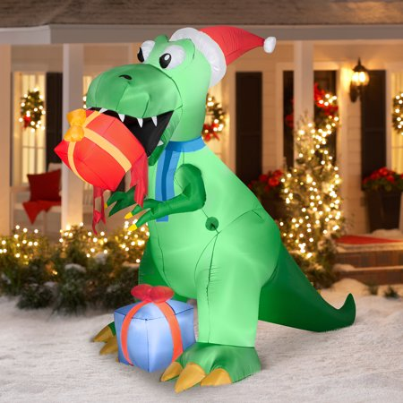 75 t rex with present airblown inflatable christmas prop